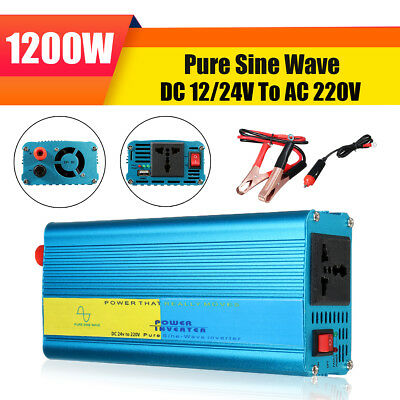 1200W Pure Sine Wave Inverter DC 12V/24V To AC 220V Power Converter Car Caravan