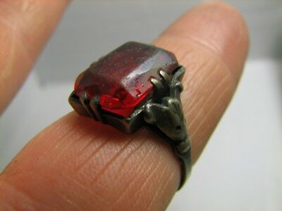INTERESING ! Custom made ! VINTAGE STERLING SILVER RING with STONE !  #344