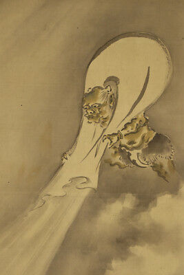 """JAPANESE HANGING SCROLL ART Painting """"Wind God"""" Asian antique  #E3777"""