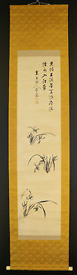 """JAPANESE HANGING SCROLL ART Painting """"Orchid"""" Asian antique  #E3807"""