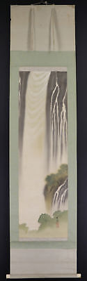 """JAPANESE HANGING SCROLL ART Painting Scenery """"Waterfall"""" Asian antique  #E3881"""