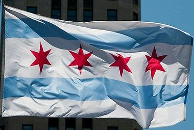 New Chicago City Flag 3x5 ft of illinois state better quality usa seller
