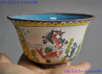 mark Old Chinese Bronze Cloisonne Dynasty palace fish goldfish Tea cup Bowl