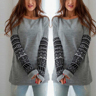 UK Women Long Sleeve Loose Tops Blouse T Shirt Casual Jumper Pullover Crew Neck