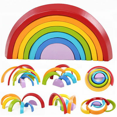 Wooden Rainbow Domino Building Blocks Toy Kids Educational Montessori 7 Colors