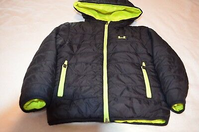 Under Armour Boys Quilted Puffer Winter Jacket Size 4T Black Yellow Lining