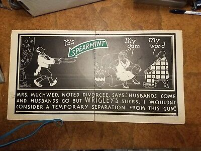 Vintage Wrigley's Spearment Chewing Gum Advertisement Poster - Cardboard Sign