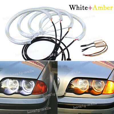 4x Angel Eye Halo Light Ring SMD LED Headlight for BMW E46 3 Series Coupe Sedan