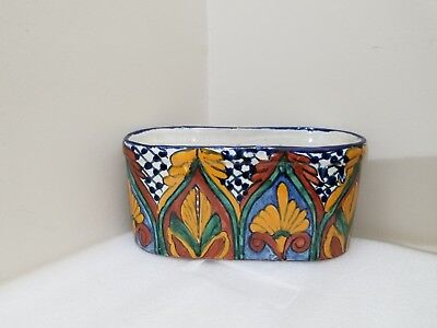 VINTAGE  Pottery Mexican Planter Mexico Hand Made 9.25'' L , 4.25'' W, 4.25T