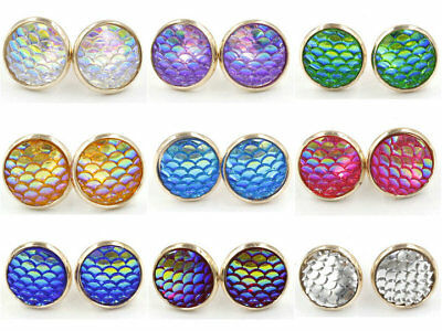 Fashion 12mm Resin Fish Scale Gem Giltter Gold Plated Stud Bling Earrings