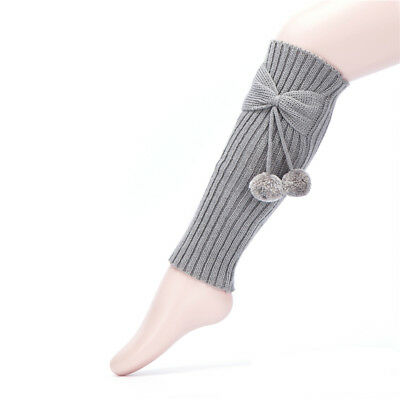 Child Kid Girls Winter Leg Warmer Bow Ball Knitted Boot Legging Socks Stockings
