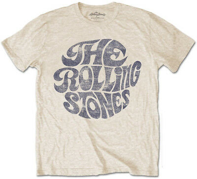 Rolling Stones 'Vintage 70s Logo' (Sand) T-Shirt - NEW & OFFICIAL