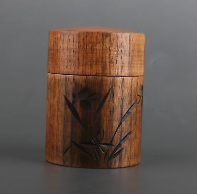 Japanese Cherry Wood Hand Carved Orchid Tea Caddies Jar High-End Gift