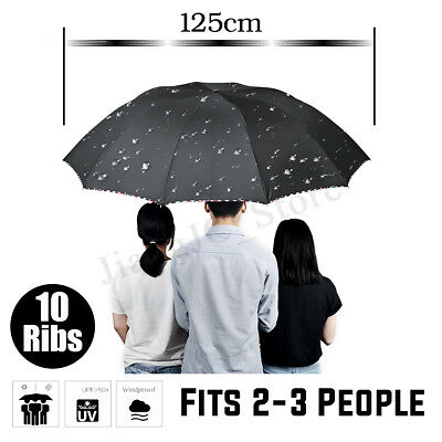 Large Folding Umbrella Compact Rain 10 Ribs Anti-Sunburn UPF50 Windproof Gentle