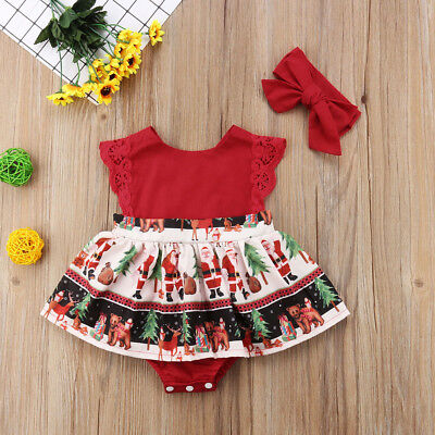 AU Canis Newborn Baby Girls Christmas Santa One Piece Party Romper Dress Clothes