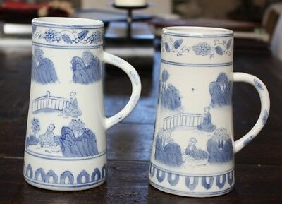 "Set of 2 Vintage Asian Tall Mugs 32-Ounce  7.5"" Tall Blue & White Japan"