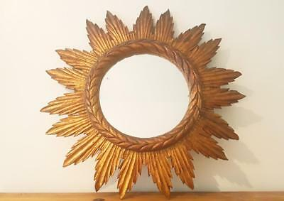 Espejo sol madera antiguo / antique wood sunburst mirror