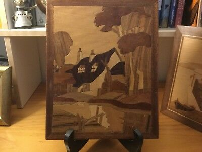 Vintage marquetry wooden picture of English cottage & countryside, a bit deco