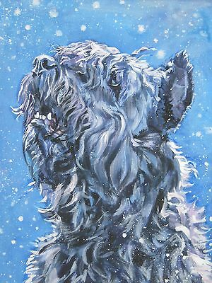 Bouvier Des Flandres dog portrait art CANVAS PRINT of lashepard painting 12x16""