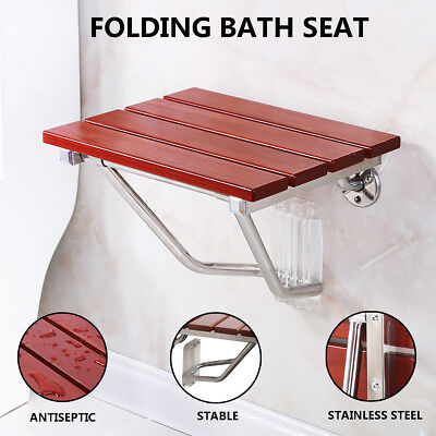New Folding Shower Seat Bench Wall Mount Solid Wood Construction Bath Seat