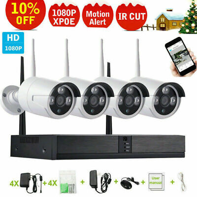 4CH CCTV IP Camera System HDMI WiFi Wireless 1080P NVR Outdoor Home Security