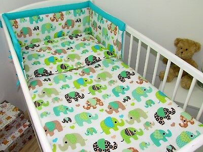 3pc bedding set BUMPER padded filled +QUILT COVERS for cot / cot bed ELEPHANTS