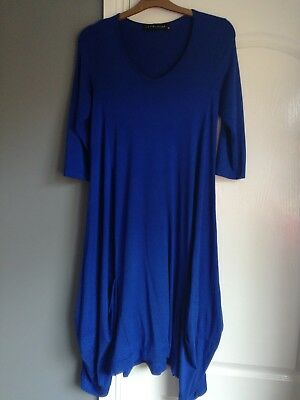 Join Clothes gathered/drape hem Dress, Small Blue