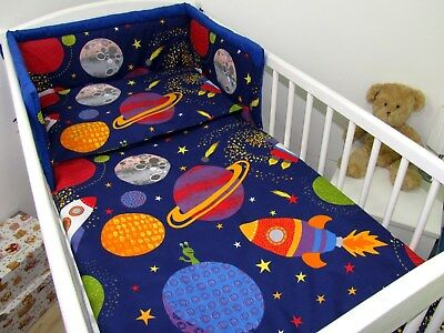 3pc bedding set BUMPER padded filled +QUILT COVERS for cot /cot bed galaxy stars