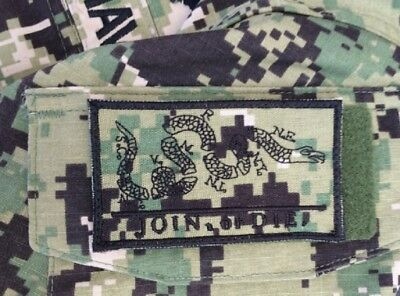 US NAVY Join Or Die AOR 2 SEALS USN Army Digital camouflage Klett patch