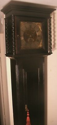 "Antique  Black Ebony   ""  Harmon ""  Brass Dial Grandfather / Longcase Clock"