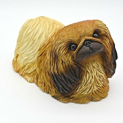 Sandicast Dog Figurine Sculpture Pekingese Red Lying Down OS173 Original Size