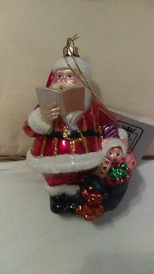 Christmas ornament Kurt adler Polonaise Santa Claus reading book with toys in bo