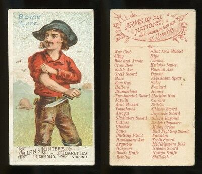 """1887 N3 Allen & Ginter Arms of All Nations """"Bowie Knife"""" VG **AA-9104**"""