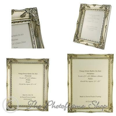 "Antique Silver Shabby Chic Ornate Swept Vintage Picture Frames 10""x8"" - 30""x20""."