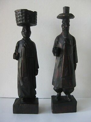 """RARE Handcarved Wooden Statues Korean Couple Traditional Clothing Hanbok 6 3/8"""""""