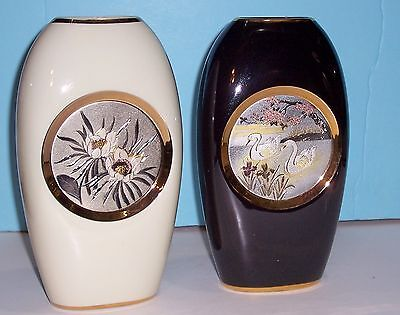"""2 The Art Of Chokin Vases 10"""" Flowers And Swans"""