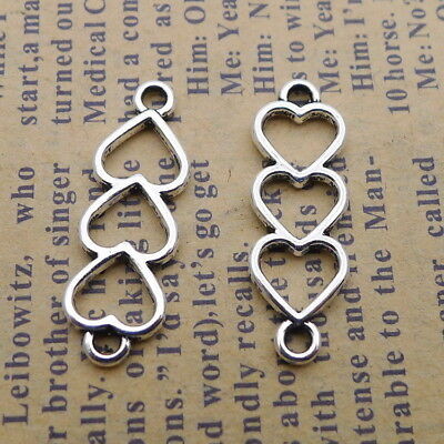 20pcs Charms Hollow Hearts Connector Tibetan Silver Beads Pendant DIY 8*24mm