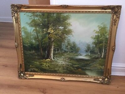 Signed Very Large Oil On Board Painting In Ornate Gold Gilt Frame, Signed