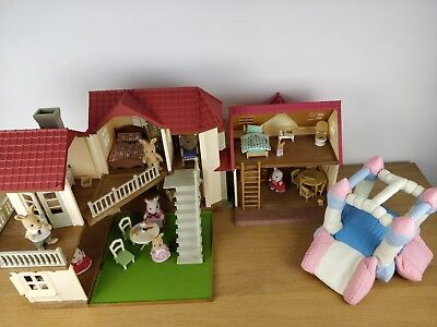 Sylvanian families Beechwood hall, cosy cottage, furniture and figures Calico