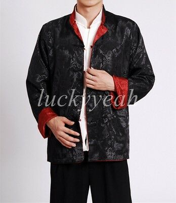 Mens Double Sided Chinese Oriental Coat Kung Fu Satin dragon Top Long Shirt Tops