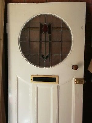 original antique 1930s front door with stained glass panel