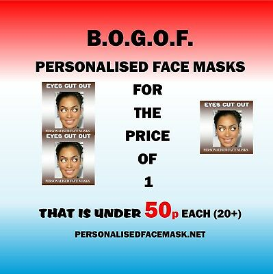 Personalised Face Masks (KITS with Eyes Cut Out) Hen Stag Party Lowest Cost