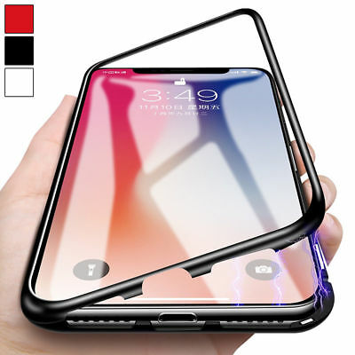Magnetic Adsorption Metal Case For iPhone XS Max XR Luxury Tempered Glass Cover