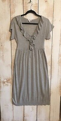 A Pea In The Pod Size S Maternity Lightweight Gray Sweater Dress, short sleeve