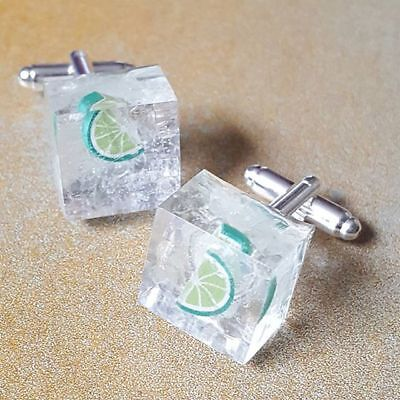 Unique VODKA AND TONIC with ICE & LIME CUFFLINKS resin  MIXED UP DOLLY handmade