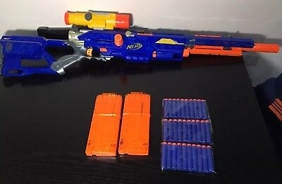 Nerf N-Strike Longstrike CS-6 Rifle, Barrel, New Darts, 12 Dart Ext Mags, Scope