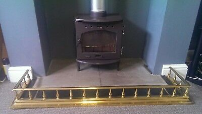 Vintage Brass Fire Fender Kerb With Gallery Rail