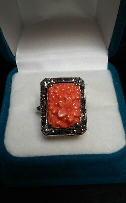 Antique Art Deco Sterling Silver Carved Coral Glass Ring