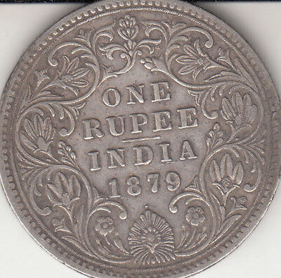 1879 British India Victoria Queen One Rupees With Dot Good Condition