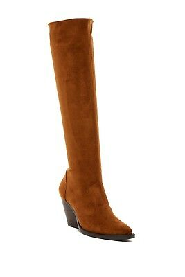 77a6f0431755 NEW JEFFREY CAMPBELL GATLIN KNEE HIGH STRETCH wedge BOOT western TAN 6 US  (T30)